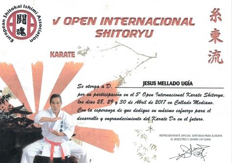Diploma Asistencia V Open Internacional Ishimi